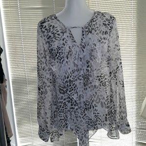 Jennifer Lopez white cheetah ruffle fronted blouse
